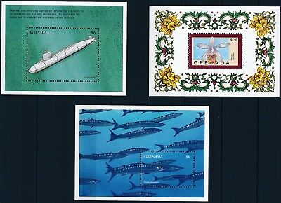[H16021] Grenada 1998-99 THEMATICS Good lot of 3 sheets very fine MNH