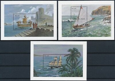 [H16187] Barbuda 2000 BOATS & SHIPS Good set of 3 sheets very fine MNH Value 35$