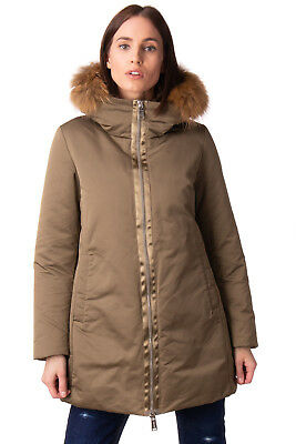 ADD Down Parka Jacket Size 46 / L Raccoon Fur Trim Satin Stripe Hooded RRP €470