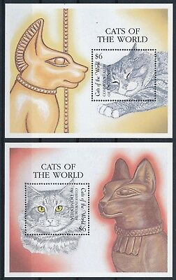 [H16201] Dominica 2000 CATS - Pets - Fauna Good set of 2 sheets very fine MNH