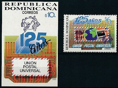 [H16203] Dominican Rep. 1999 UPU Good lot stamp + sheet very fine MNH