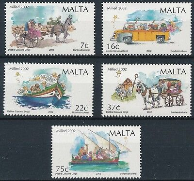 [H16433] Malta 2002 TRANSPORTATIONS - CHRISTMAS Good set of stamps very fine MNH
