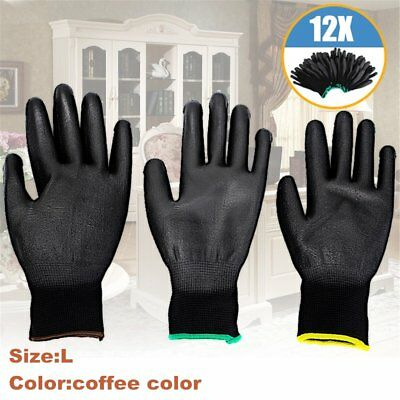 12 Pairs PU Nylon Safety Coating Work Gloves Builders Grip Palm Protector L UQC@
