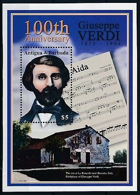 [H16454] Antigua & Barbuda 2001 Giuseppe VERDI - Music Good sheet very fine MNH