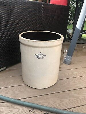 Vintage Robinson Ransbottom 6 Gallon Crock Stoneware Blue Crown