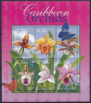 [HG25603] St Kitts 2001 CARIBBEAN ORCHIDS - Flowers Good sheet very fine MNH
