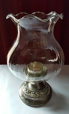 Vintage IANTHE silver plated candle lamp with glass shade