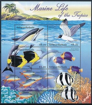 [HG25882] Antigua & Barbuda 2001 DOLPHIN FISHS BIRDS Good sheet very fine MNH