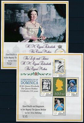 [HG25886] Dominica 2001 QUEEN MOTHER Good set of 2 sheets very fine MNH