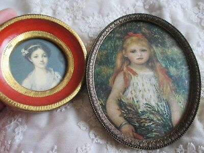 2 Beautiful Italian Miniature Pictures of Young Girls in Metal and Wooden Frame