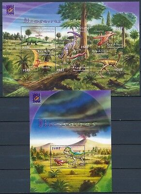 [HG25908] Cent.African Rep. 2001 DINOSAURS Good set of 2 sheets very fine MNH
