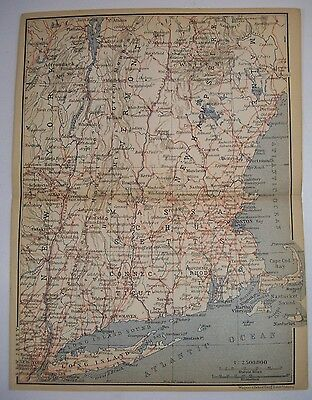 1893 Wagner Debes NORTHEAST SEABOARD ANTIQUE MAP Leipzig US Germany COLOR COAST