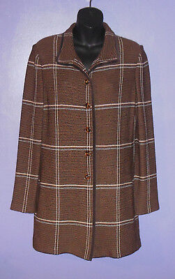 St. John Collection by Marie Gray Long Knit Jacket/Blazer Plaid Size 6