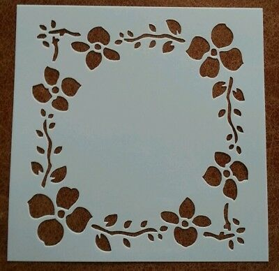 Square Craft Stencil Template ~ Flower Border~ New