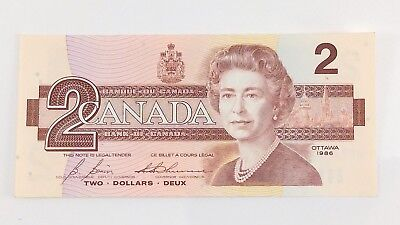 1986 Canada 2 Two Dollar EGT Prefix Canadian Uncirculated Currency Banknote I403
