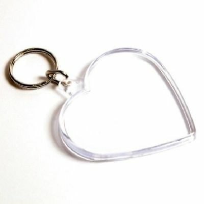CLEAR ACRYLIC HEART PHOTO KEYRING - PERSONALISE (Image Size 58MM X 50MM)