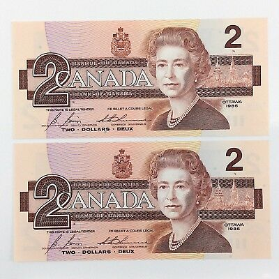1986 Canada 2 Two Dollar CBJ Canadian Uncirculated Consecutive Banknote I405