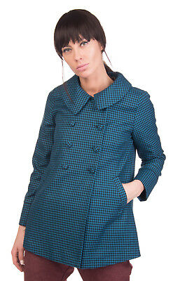 DARLING Peacoat Size S Houndstooth Double Breasted Peter Pan Collar RRP €189