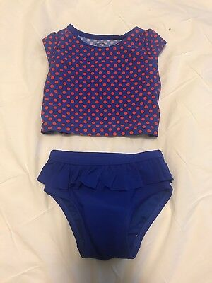 babyGap 0-6months Girls Bathing Suit Blue And Red Dots