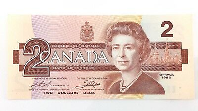 1986 Canada 2 Two Dollar EGR Prefix Canadian Uncirculated Currency Banknote I407