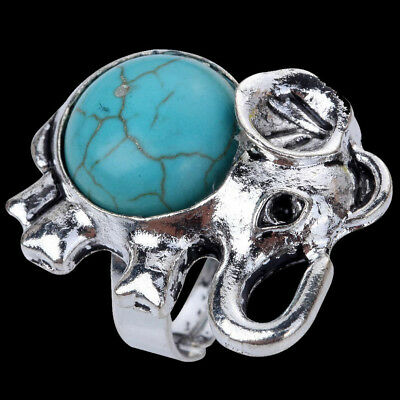 Charm Tibetan Silver Turquoise Elephant Ring for Women Antique Jewelry