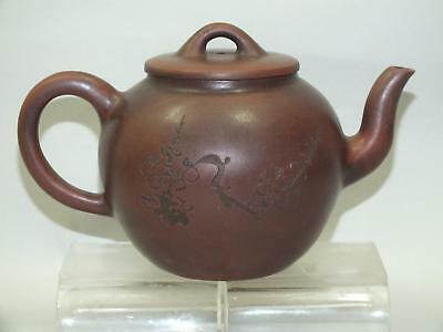 (d) A CHINESE YIXING RED POTTERY CIRCULAR INCISED SIGNED TEA-POT  20thC