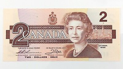 1986 Canada 2 Two Dollar CBA Prefix Canadian Uncirculated Currency Banknote I409