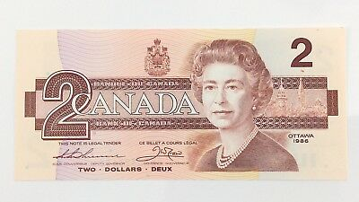 1986 Canada 2 Two Dollar CBA Prefix Canadian Uncirculated Currency Banknote I410