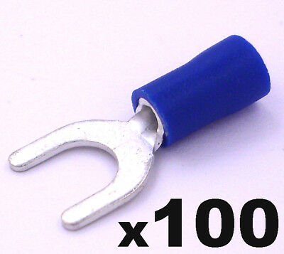 100x Blue Insulated Fork / Spade Crimp Connector Terminals for Electrical Wiring