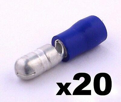 20x Blue Male Bullet Connector Insulated Crimp Terminals for Electrical Wiring