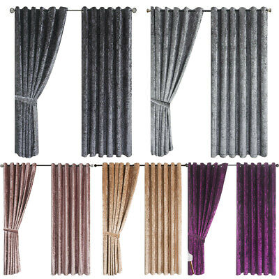 Luxury Crushed Velvet Curtains Ready Made Lined Eyelet Ring Top 10 Sizes