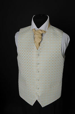 W-76. Pale green / pale gold square patterned waistcoat - wedding, dress, formal
