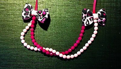 Christmas Holiday Toddler Jewelry Necklace Ribbon Bow Purple Pink Cherokee
