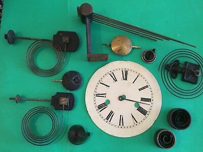 Vintage Clock Parts including Springs,Pendulums,Tin Face for spares or repair