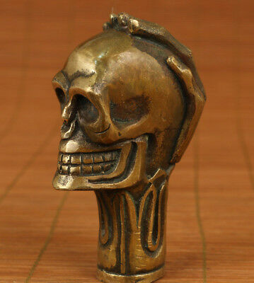 gothic Old Bronze carving Skull Head statue Walking Stick Head accessories gift