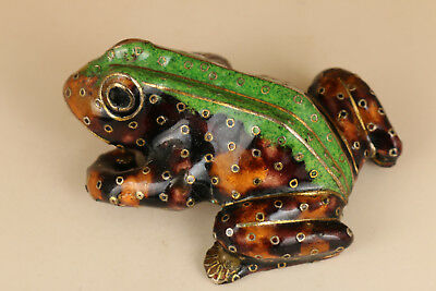 Big old Green Cloisonne hand Painting Fortune Frog statue figure decoration
