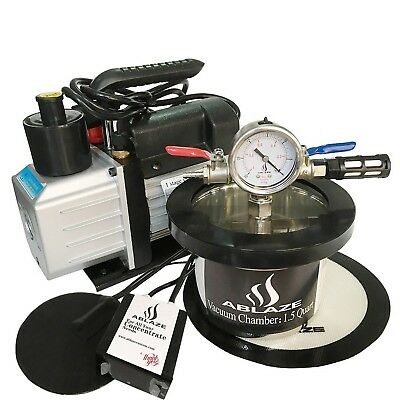 ABLAZE 1.5 Quart Vacuum Oven Stainless Steel Vacuum Degassing Chamber and 3 CFM