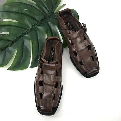 bc62516c55b STACY ADAMS Mens Biscayne Closed Toe Belmar Brown Leather Size 10M Sandals  Shoes