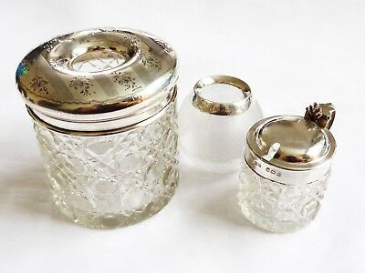 Antique, Fully Hallmarked Sterling Silver Top cut Glasses