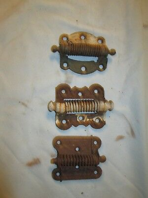 Vintage Antique Spring Loaded Cast Iron Screen Door Hinge Metal lot Of 3 Old