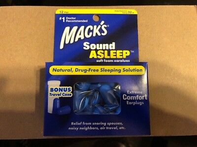 12 Pair Pack Mack's Sound Asleep Earplugs, 32 dB Noise Reduction Made in Sweden