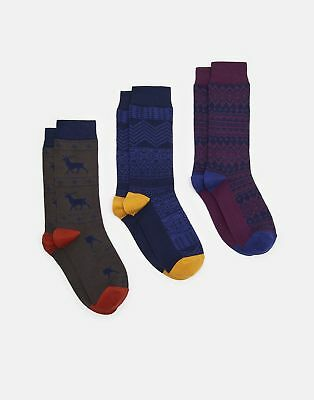 Joules Mens Striking Christmas 3Pk Ankle Socks 7 12 in FAIRISLE Size Adult 7in12