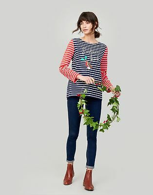 Joules Womens Harbour Printed Jersey Top Shirt in NAVY CREAM FESTIVE BIRD
