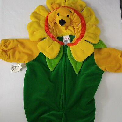 Winnie Pooh Flower Costume Dress Up 0-3 Months Baby Hooded Plush Disney NWT