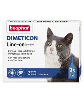 Beaphar Dimeticon Line-On Spot On Antiparassitario 3 Pipette Gatto