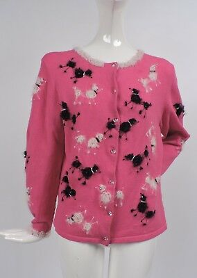 Vintage 1950'S Style Pink Poodle Cardigan Sweater For Dress W Rhinestones Pearls