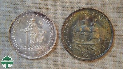 1954 - South Africa - Two Coin Set - Silver 1 Shilling & 1 Half Penny *toned*
