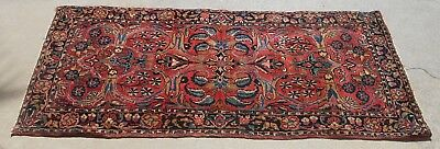 Antique Middle Eastern Oriental Persian Sarouk Hand Made Red Runner Rug 30 X 61