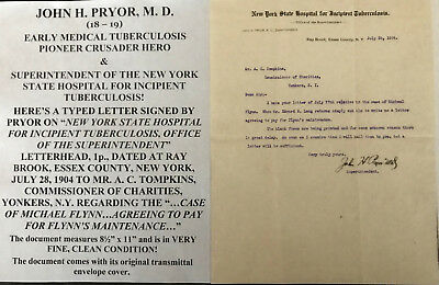 Pioneer Physician Incipient Tuberculosis Hospital New York Letter Signed 1904 Vf