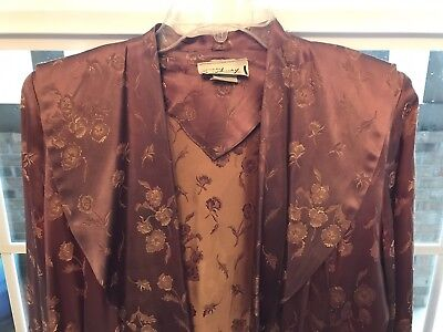 VTG Saybury  40s  HOLLYWOOD GLAMOUR Chocolate Floral SATINY Robe/Dressing Gown